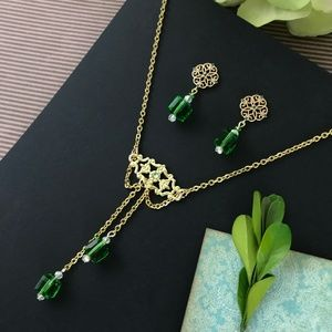 Art Nouveau Gold Green Crystal Jewelry Set